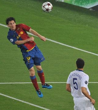 Il colpo di testa di Messi per il definitivo 2-0
