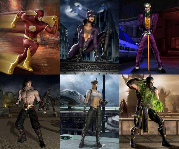 Alcuni personaggi: Flash, Catwoman, Joker, Liu Kang, Sonya e Shang Tsung